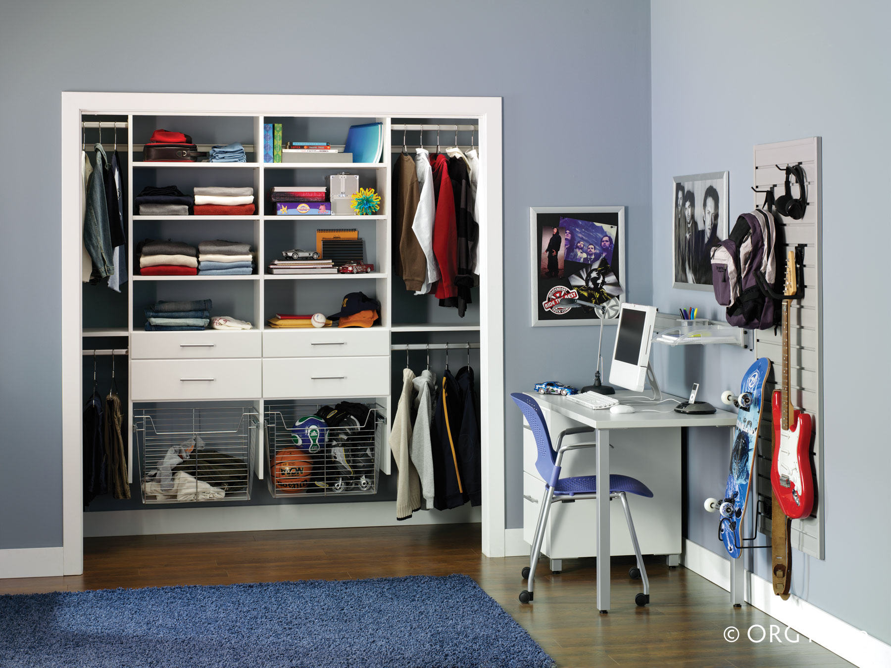 kids white reach-in closet