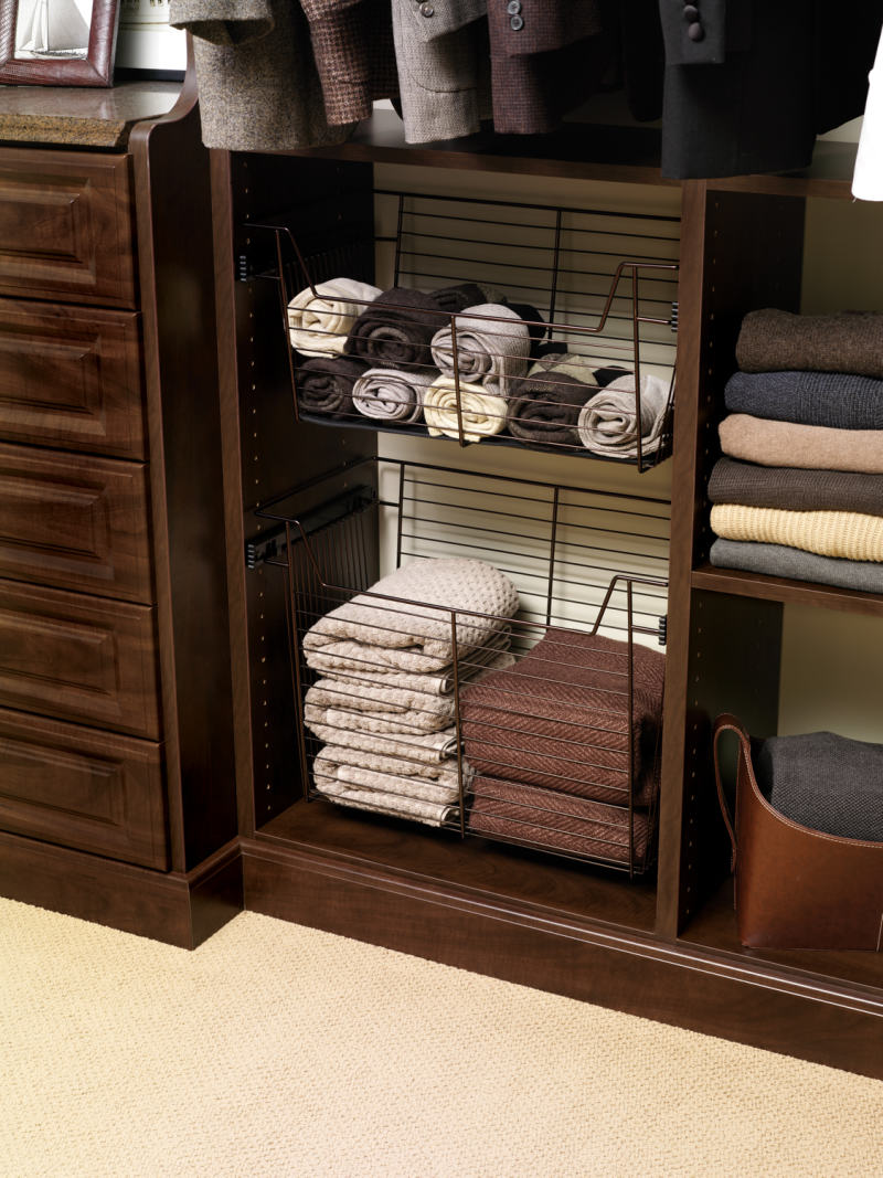 custom closet pull out basket