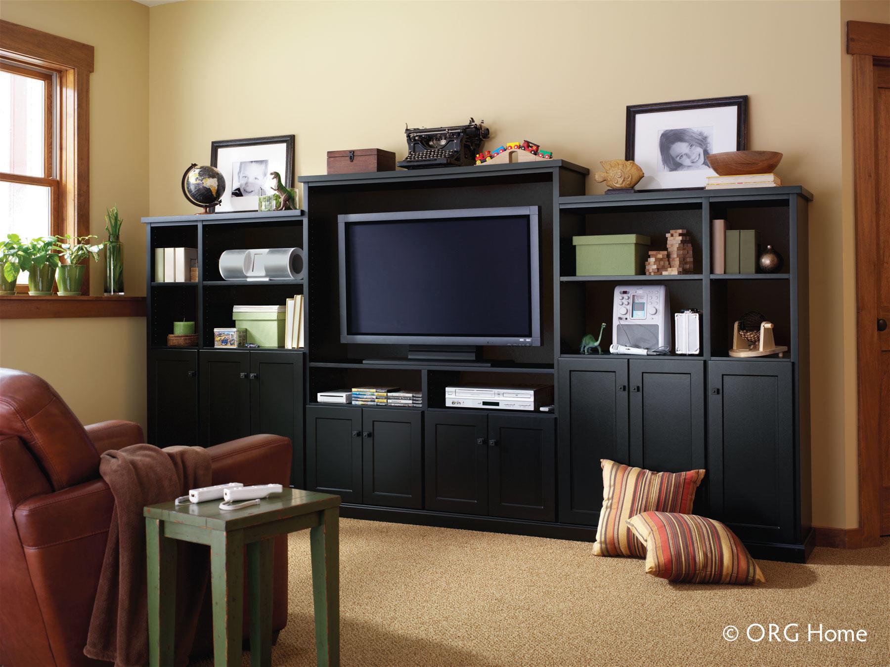 black wood entertainment center