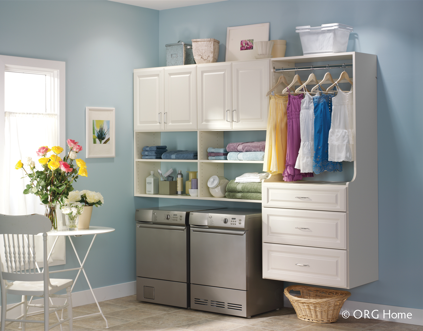 white custom laundry room storage