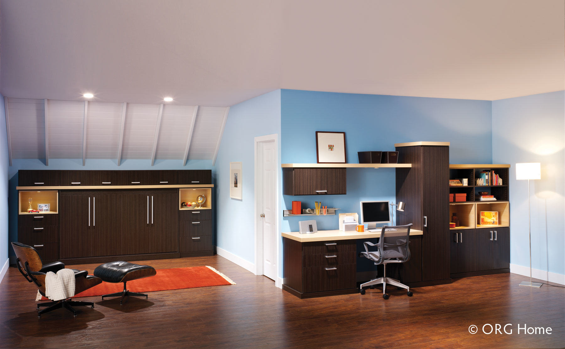 murphy bed and home office storage