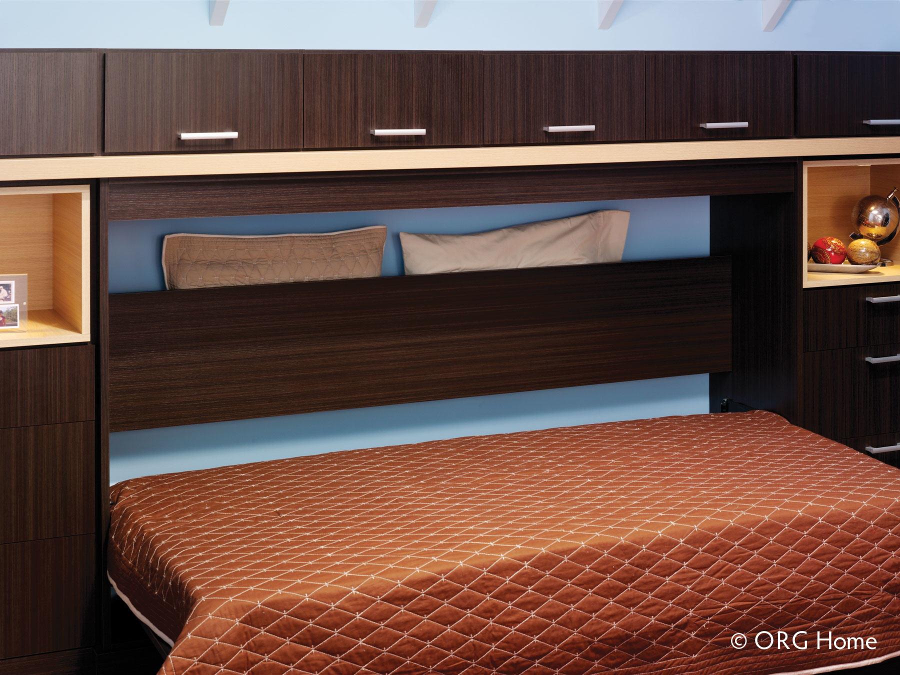 dark wood murphy bed