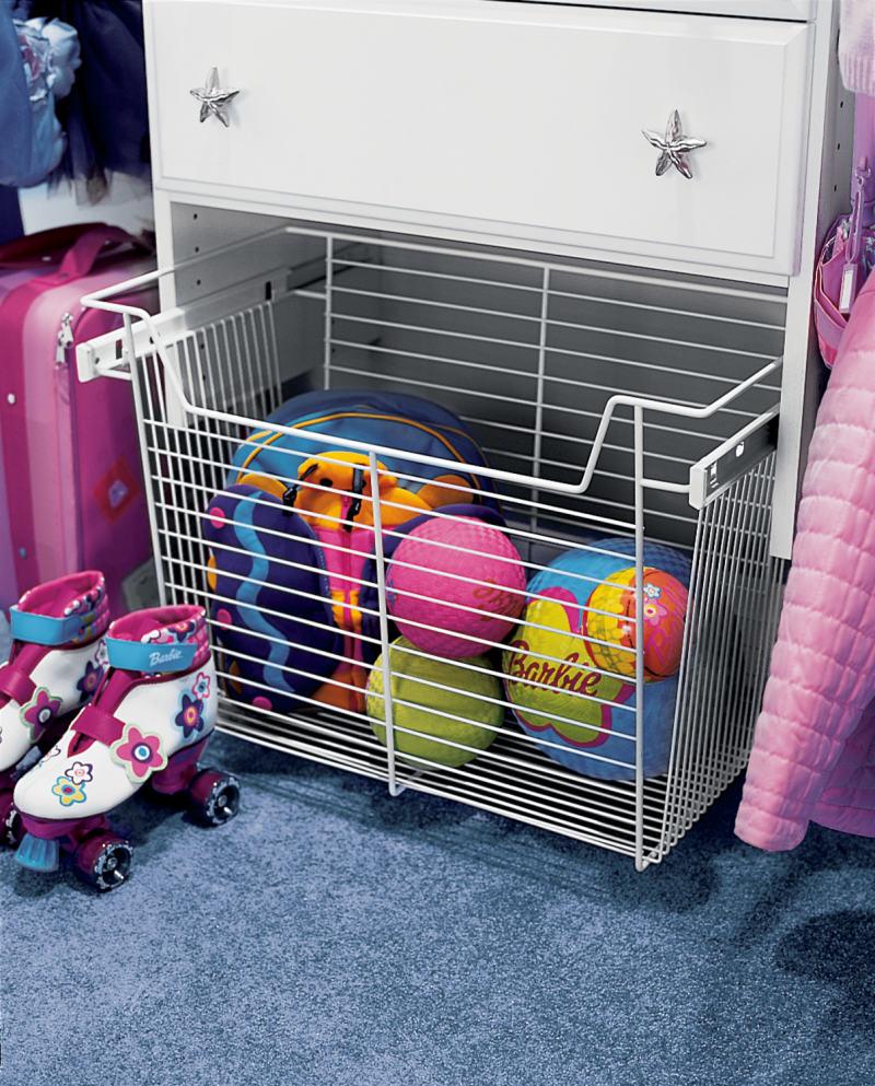 kids custom closet pullout basket