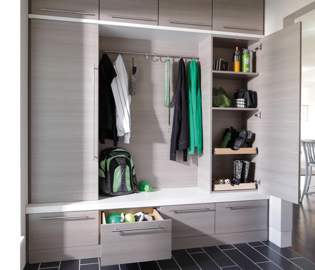 entryway grey custom cabinets