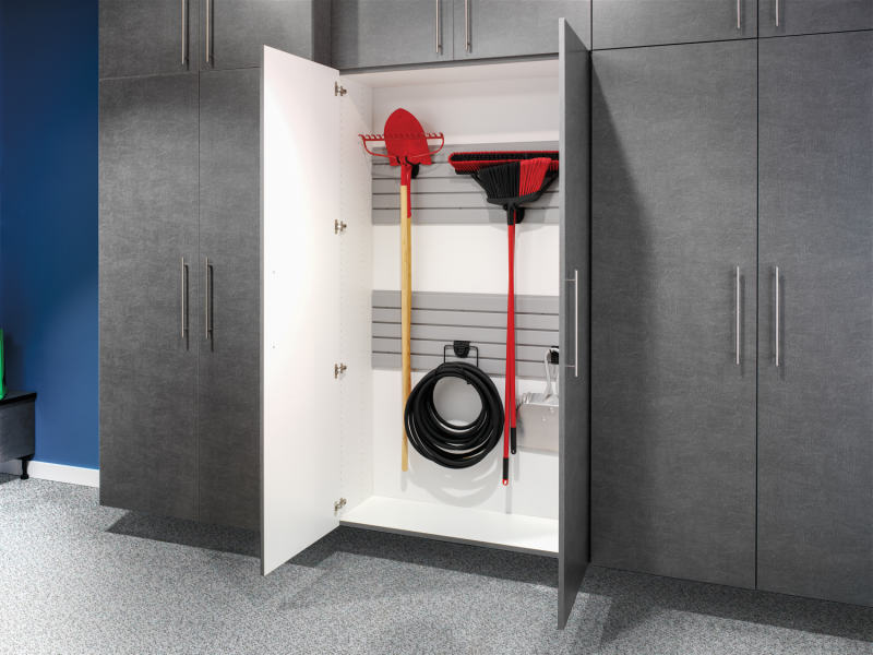 grey custom garage storage cabinets