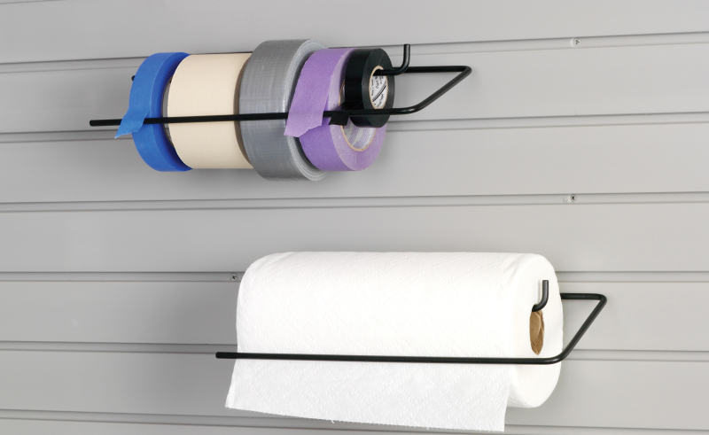 garage slatwall towel rack