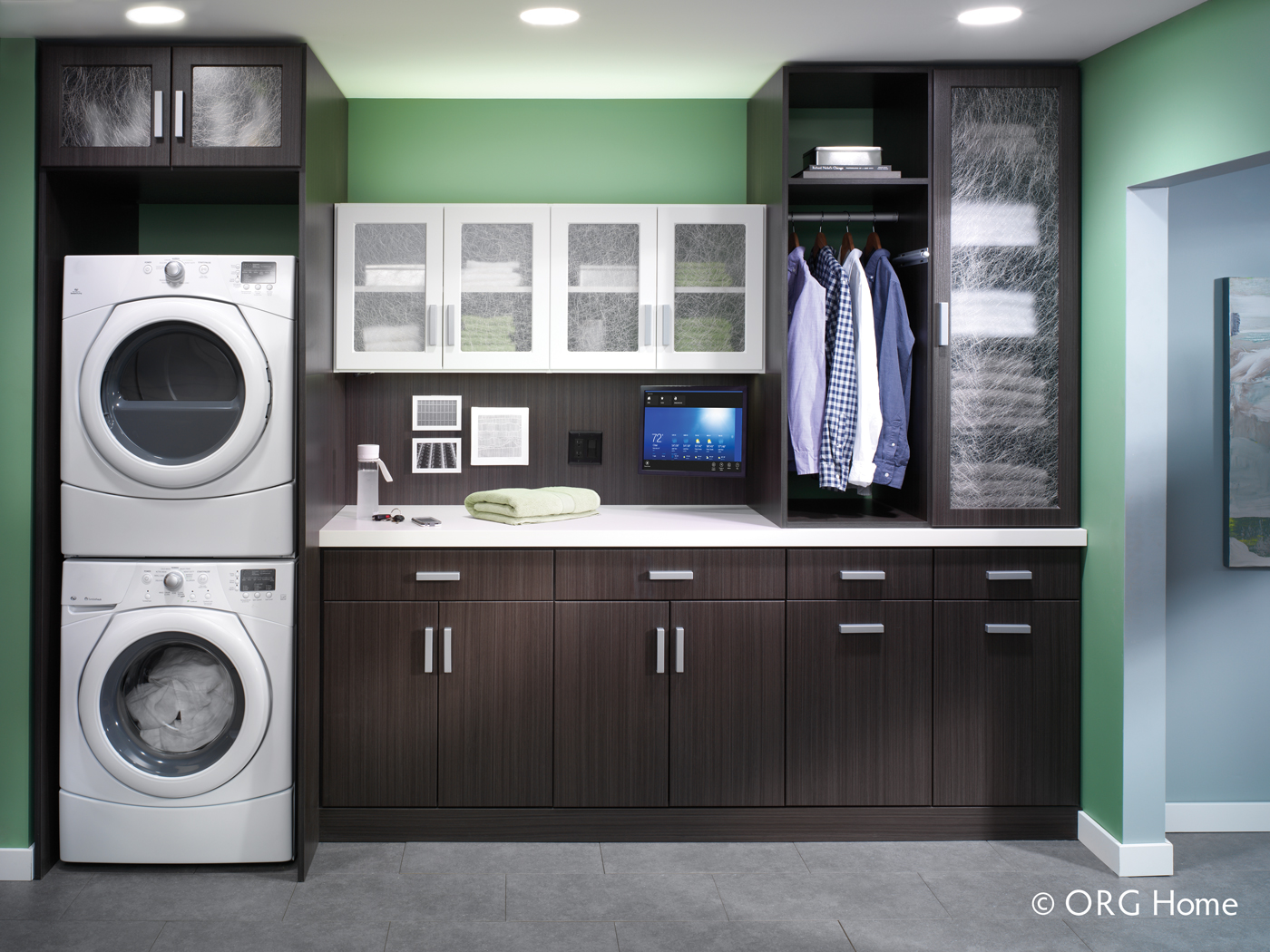 dark wood custom laundry room storage