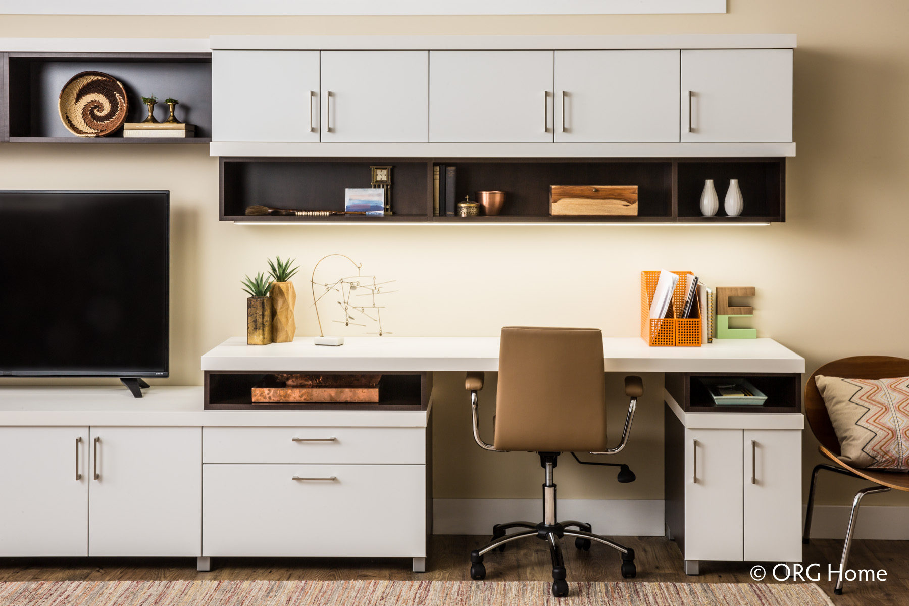 White Storage Cabinets In Home Office