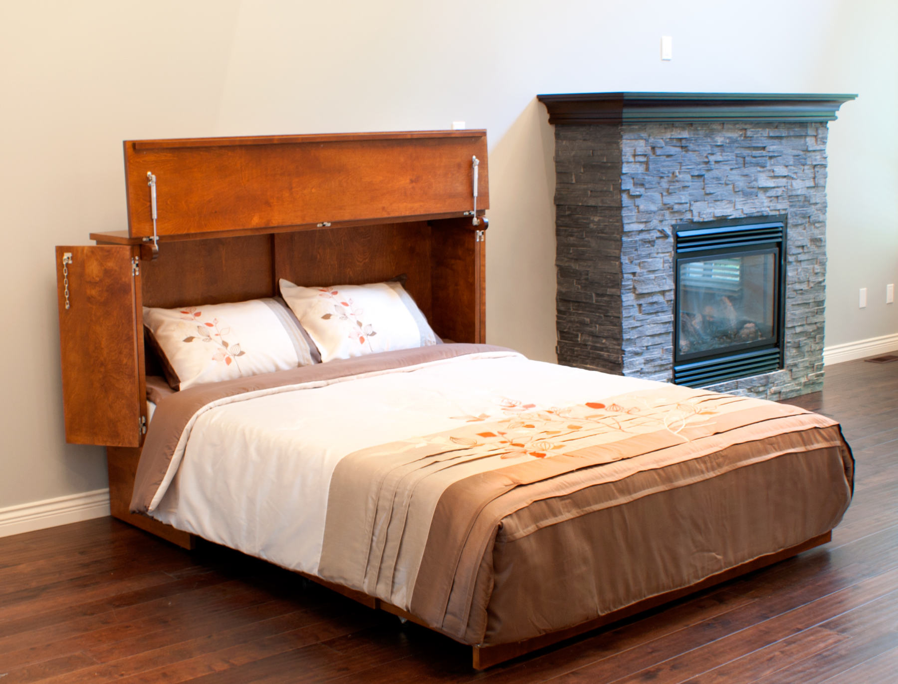 wood cabinet bed